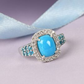 Arizona Sleeping Beauty Turquoise, Neon Apatite and Natural Cambodian Zircon Ring in Platinum Overla