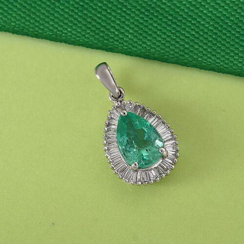 RHAPSODY 950 Platinum AAAA Boyaca Colombian Emerald and Diamond (VS/E-F) Pendant 1.28 Ct.