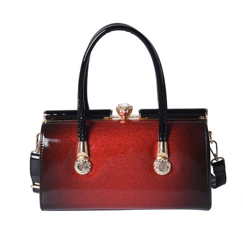 BOUTIQUE COLLECTION Red and Black Barrel Style Bag with Detachable and Adjustable Shoulder Strap (Si