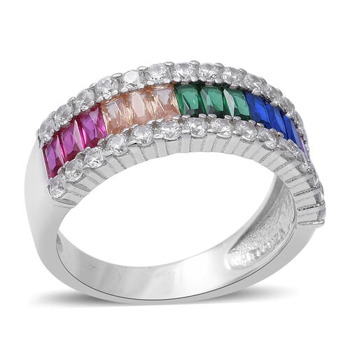 ELANZA Simulated Rainbow Sapphire, Simulated Diamond Ring in Rhodium Overlay Sterling Silver 5.31 Ct