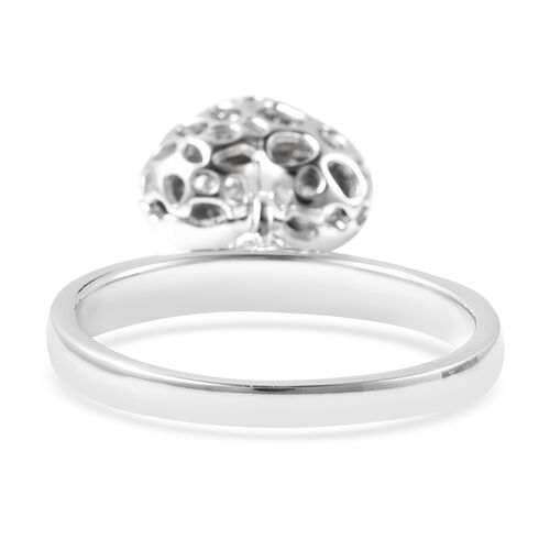 RACHEL GALLEY Angel Heart Collection - Russian Diopside Lattice Heart Charm Ring in Rhodium Overlay Sterling Silver