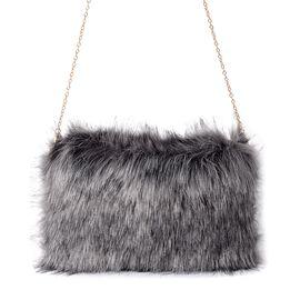 Grey Colour Faux Fur Cross Body Bag with Removable Shoulder Strap (Size 28x20 Cm)