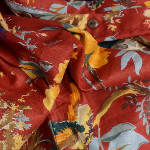 100% Cotton Red, Yellow and Multi Colour Flower, Leaves and Bird Pattern Apparel (Size 77x60 Cm)