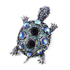 Multicolour Austrian Crystal Turtle Brooch or Pendant in Silver Tone