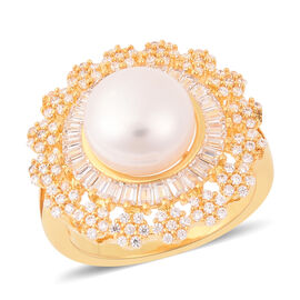Freshwater White Pearl (Rnd), Simulated Diamond Floral Ring in Gold Tone