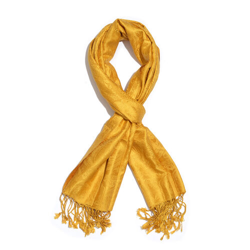 SILK MARK - 100% Superfine Silk Golden Colour Floral and Paisley Pattern Jacquard Jamawar Scarf with Tassels (Size 180x70 Cm) (Weight 125 - 140 Gms)