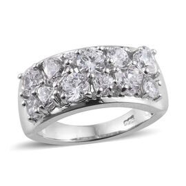 J Francis - Platinum Overlay Sterling Silver (Hrt and Rnd) Ring Made With SWAROVSKI ZIRCONIA