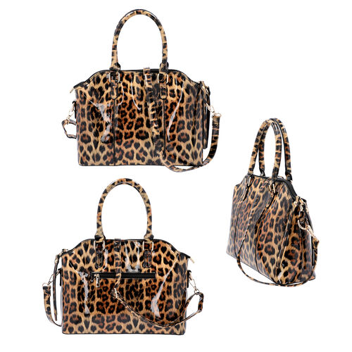 Black and Brown Leopard Pattern Tote Bag with Zipper Closure and Detachable Shoulder Strap (Size32x25x13 Cm)