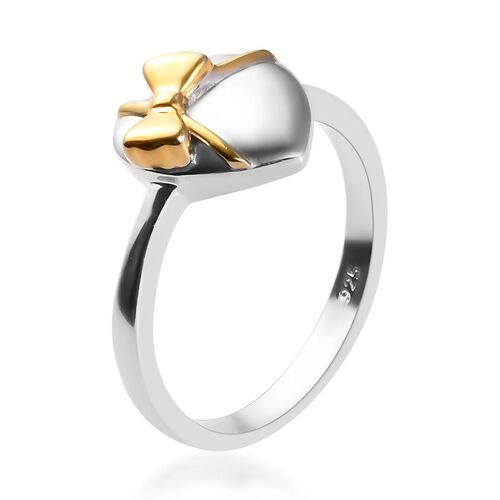 Platinum and Yellow Gold Sterling Silver Bow-Tie on Heart Ring
