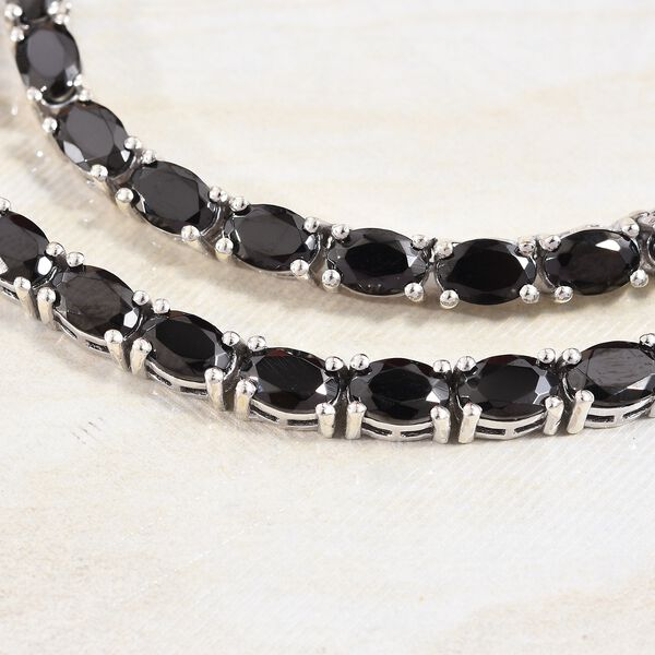 Elite Shungite (Ovl) Necklace (Size 18) in Platinum Overlay Sterling Silver 20.00 Ct, Silver wt 21.50 Gms
