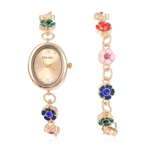 2 Piece Set - STRADA Japanese Movement Water Resistant Multi Colour Austrian Crystal Floral Watch wi