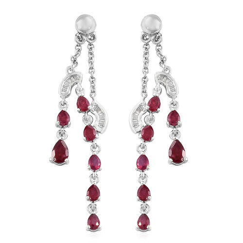 Designer Inspired-African Ruby (Pear), Diamond Earrings (with Push Back) in Platinum Overlay Sterlin