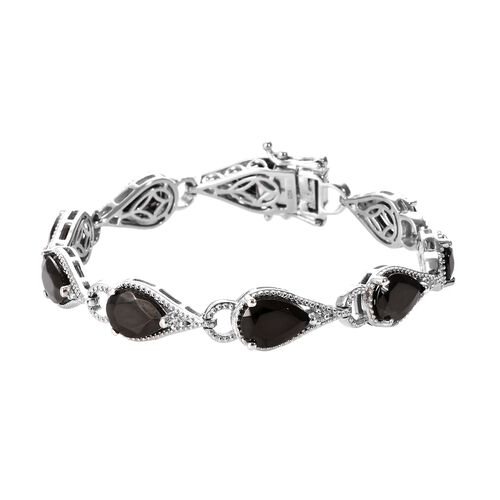 9.25 Ct Elite Shungite and Zircon Link Bracelet in Platinum Plated Silver 15.28 Grams 7.25 Inch