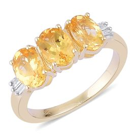 Collectors Edition-9K Yellow Gold AAA Imperial Topaz (Ovl 2.75 Ct), Diamond Ring (Size S) 2.850 Ct.