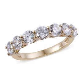 J Francis - 9K Yellow Gold (Rnd) 7 Stone Ring Made with SWAROVSKI ZIRCONIA