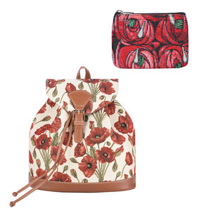 Signare Tapestry - 2 Piece Set - Poppy Floral Design Backpack and FREE Mackintosh Simple Rose Zip Coin Purse - Cream and Multi (Navigation Fashion & Home Accessories) photo
