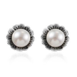Freshwater Pearl Floral Stud Earrings (with Push Back) in Sterling Silver