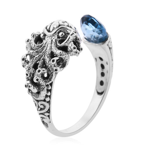 London Blue Topaz (0.00 Ct) Sterling Silver Ring  0.001  Ct.