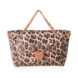 New Season Chic Brown Colour Leopard Pattern Tote Bag (Size 31x23.5x8 Cm)
