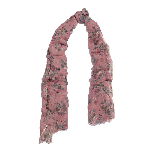 60 % Linen and 40% Modal Pink and Multi Colour Floral Printed Scarf (Size 180x70 Cm)