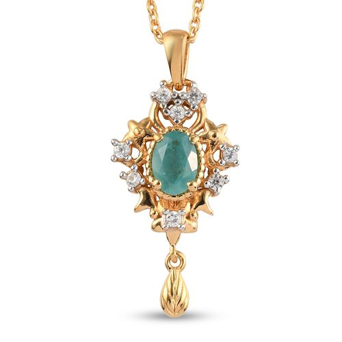 Grandidierite and Natural Cambodian Zircon Pendant with Chain (Size 18) in 14K Gold Overlay Sterling