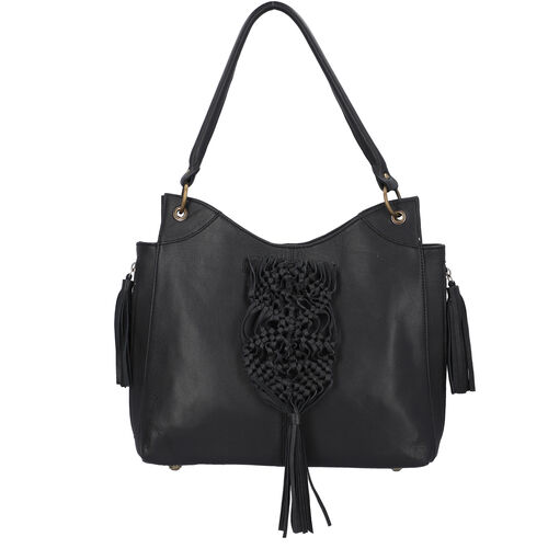 Hand Woven Macrame 100% Genuine Leather Large Tote Bag (Size 34x31x09cm) - Black