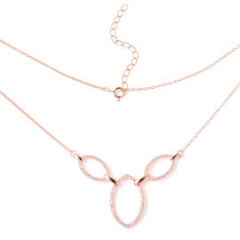ELANZA Simulated Diamond Link Necklace (Size 18 with 2 inch Extender) in Rose Gold Overlay Sterling