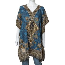 Blue Colour Tribal Printed V- neck Kaftan (One Size; 91.44x104.14 Cm)