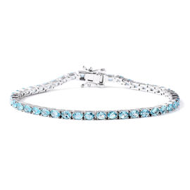 7.50 Ct Paraiba Apatite Tennis Bracelet in Rhodium Plated Sterling Silver 7 Inch