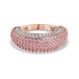 Pink Sapphire (FF) and Natural Cambodian Zircon Cluster Ring in Rose Gold Overlay Sterling Silver 2.