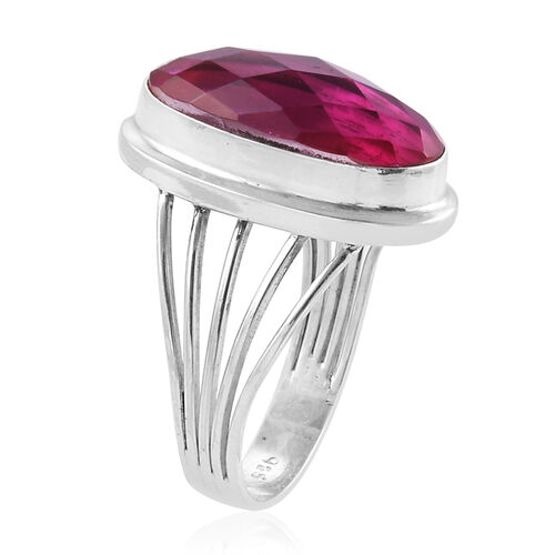 Royal Bali Collection Radiant Orchid Triplet Quartz (Ovl) Ring in Sterling Silver 10.680 Ct. Silver wt 5.50 Gms.