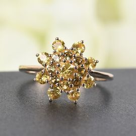 9K Yellow Gold Yellow Sapphire Cluster Floral Ring 1.06 Ct.