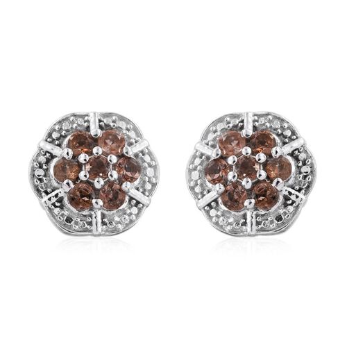 Brazilian Andalusite (Rnd) Floral Stud Earrings (with Push Back) in Platinum Overlay Sterling Silver 1.000 Ct.