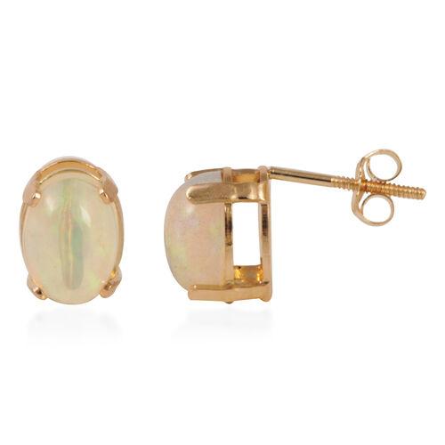 JCK Vegas Collection 14K Yellow Gold AAA Ethiopian Welo Opal (Ovl) Earrings (with Push Back) 1.500 Ct.