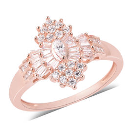 ELANZA Simulated Diamond Cluster Ring in Rose Gold Plated Sterling Silver