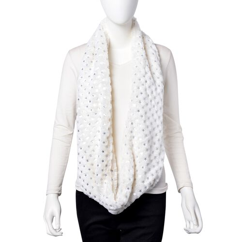 Silver and White Colour Star Pattern Faux Fur Infinity Scarf (Size 77x18 Cm)