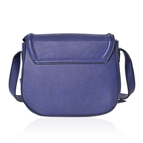 Navy Colour Horsebit Buckle Design Crossbody Bag with Adjustable Shoulder Strap (Size 22.5X19X7.5 Cm)