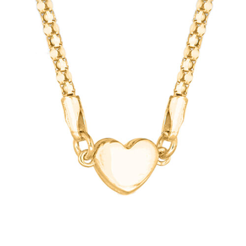 Yellow Gold Overlay Sterling Silver Popcorn Necklace (Size 17) with Heart