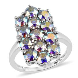 J Francis - Crystal from Swarovski AB Crystal (Rnd) Cluster Ring in Sterling Silver