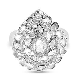 Artisan Crafted Polki Diamond Ring in Platinum Overlay Sterling Silver 1.60 Ct., Silver wt 5.20 Gms