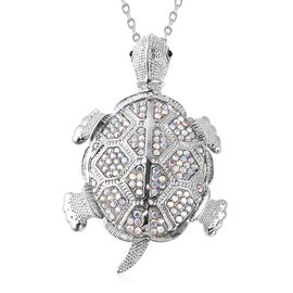 Simulated Mystic White Crystal (Rnd), Black Austrian Crystal Tortoise Pendant with Chain (Size 29 wi