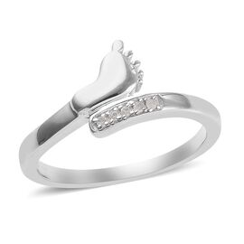 Diamond (Rnd) Baby Foot Bypass Ring in Platinum Overlay Sterling Silver