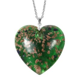 Green Murano Style Glass (Hrt 46x46 mm) Sterling Silver Pendant with 30 Inch Stainless Steel Chain