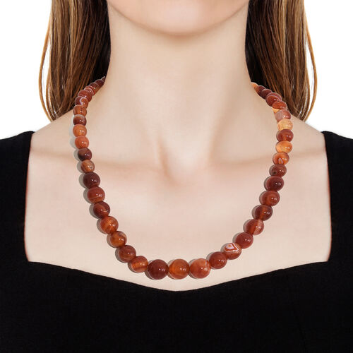 TJC Launch- Amber Colour Agate Graduated Necklace (Size 20) with Magnetic Lock in Platinum Overlay Sterling Silver 360.000 Ct.