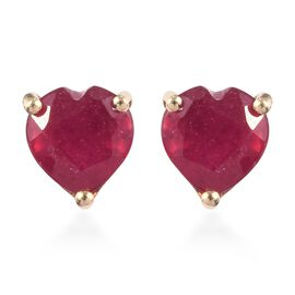 9K Yellow Gold 2.50 Ct AA African Ruby Heart Stud Earrings (with Push Back)