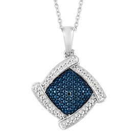 Blue and White Diamond (Rnd) Pendant With Chain (Size 20) in Platinum Overlay Sterling Silver