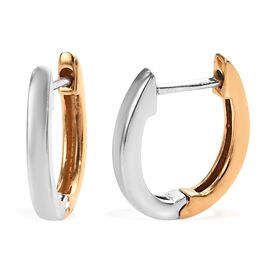 Platinum and Yellow Gold Overlay Sterling Silver Hoop Earrings (with Clasp)