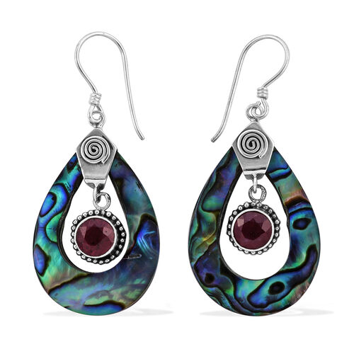 Royal Bali 3.79 Ct Treated Ruby and Abalone Shell Drop Earrings in Sterling Silver With Hook