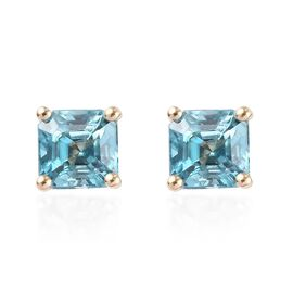 9K Yellow Gold AAA Ratanakiri Blue Zircon (Asscher Cut 6x6mm) Solitaire Stud Earrings (with Push Bac