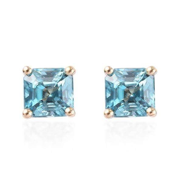 AAA Ratanakiri Blue Zircon Solitaire Stud Earrings in 9K Yellow Gold